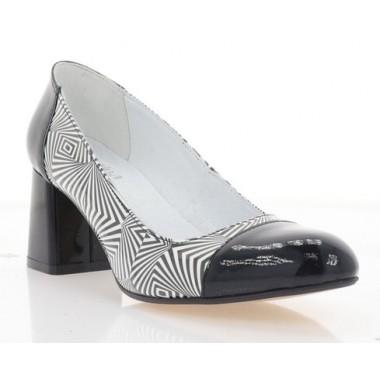 Туфли женские черные/белые, лакированная кожа (4017 чн. Лк) Roma style