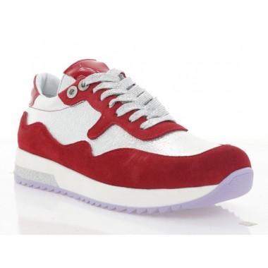 Кросівки жіночі срібні/червоні, шкіра/замш (4018 черв. Зш_срібн) Roma style