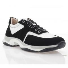 Кросівки жіночі срібні/чорні, шкіра/замш (4022 чн. Зш_срібн) Roma style