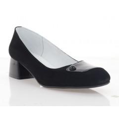 Туфли женские черные, велюр/лакированная кожа (4038 чн. Лк+Вл) Roma style