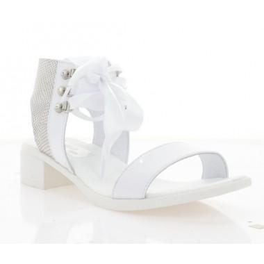 Купить Босоножки женские белые, кожа (4041 біл. Лк+Змія) Roma style по лучшим ценам