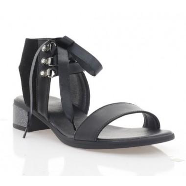 Босоножки женские черные, кожа/велюр (4041 чн. Шк+Вл) Roma style