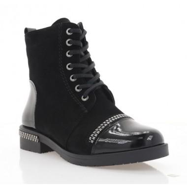 Купити Черевики жіночі чорні, замш/лакована шкіра (4045 чн. Лк+Зш (байка)) Roma style за найкращими цінами