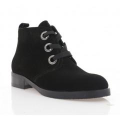 Ботинки женские черные, велюр (4050 чн. Вл (байка)) Roma style