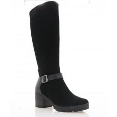 Сапоги женские черные, замша/кожа (4070 чн. Шк+Зш (шер)) Roma style