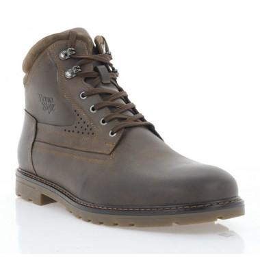Ботинки мужские коричневые, кожа (5001 кор. Крейз (шер)) Roma style