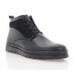 Ботинки мужские черные, кожа/нубук (5003 чн. Шк (шерсть)) Roma style