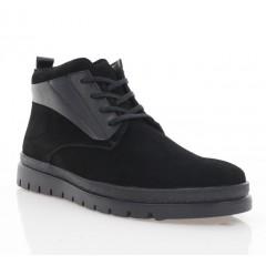 Ботинки мужские черные, замша/кожа (5003 чн.Зш (шерсть)) Roma style