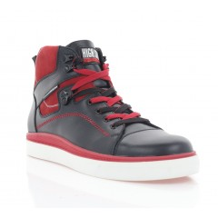 Ботинки мужские черные/красные, кожа (5008-20 чн. Шк_черв (байка)) Roma style