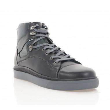 Ботинки мужские черные/серые, кожа (5008-20 чн. Шк_сір (шерсть)) Roma style