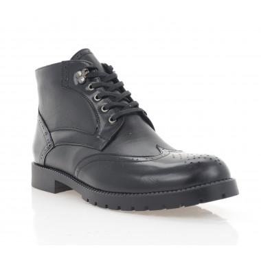 Ботинки мужские черные, кожа (5012-20 чн. Шк+Флор (шер)) Roma style