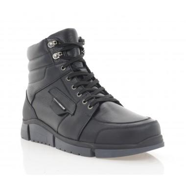 Ботинки мужские черные, кожа (5014-20 чн. Шк (шерсть)) Roma style
