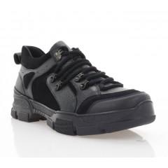 Кросівки чоловічі чорні, шкіра/замш (5016 чн. Фл) Roma style