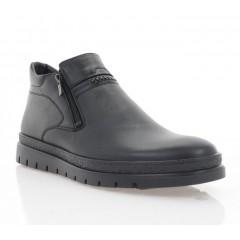 Ботинки мужские черные, кожа (5017 чн. Шк (шерсть)) Roma style