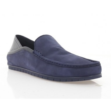 Мокасины мужские синие, нубук (5041 сн. Нб) Roma style