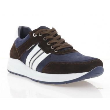 Кроссовки мужские синие/коричневые/белые, нубук/замша/кожа (5044 кор.Зш_сн.Нб) Roma style
