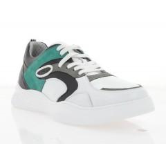 Кроссовки мужские белые/зеленые/серые/черные, кожа/нубук (5045 біл./чн/ зел. Шк) Roma style