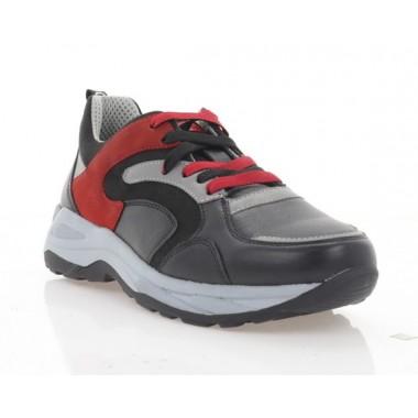 Кроссовки подростковые черные/серые/красные, кожа/нубук (5045 П чн. Шк_сір_черв) Roma style