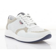 Кросівки чоловічі білі, шкіра/нубук (5046 біл. Шк) Roma style