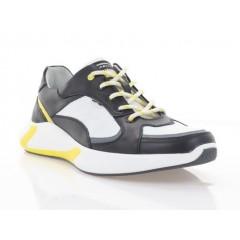 Кроссовки мужские белые/черные/желтые, кожа (5051 біл+чн Шк) Roma style