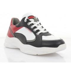 Кросівки чоловічі білі/чорні/червоні, шкіра (5051 біл./чн/черв. Шк) Roma style