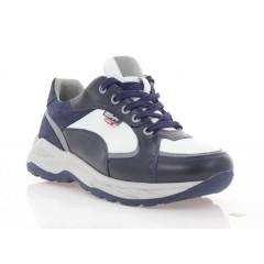 Кросівки підліткові сині/білі, шкіра (5051 П сн. Шк_біл) Roma style