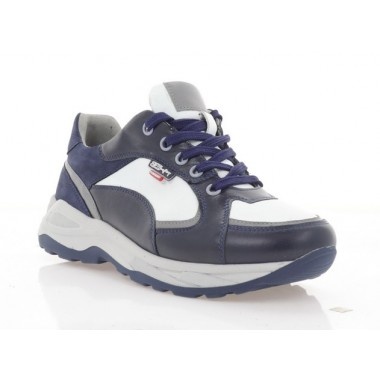 Купити Кросівки підліткові сині/білі, шкіра (5051 П сн. Шк_біл) Roma style за найкращими цінами