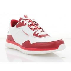 Кросівки чоловічі білі/червоні, шкура (5052 біл. Шк_черв) Roma style
