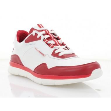 Купить Кроссовки мужские белые/красные, кожа (5052 біл. Шк_черв) Roma style по лучшим ценам