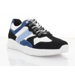 Кросівки чоловічі білі/чорні/голубі, шкіра/замш/нубук (5060 гол. Нб) Roma style