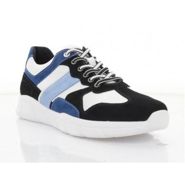 Купити Кросівки чоловічі білі/чорні/голубі, шкіра/замш/нубук (5060 гол. Нб) Roma style за найкращими цінами