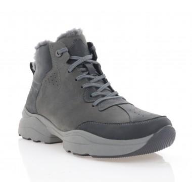 Ботинки мужские черные/серые, кожа (5072 чн+сір. Крейз (шерсть)) Roma style