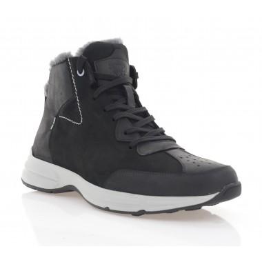 Ботинки мужские черные, кожа/нубук (5072 чн. Шк+Нб (шерсть)) Roma style