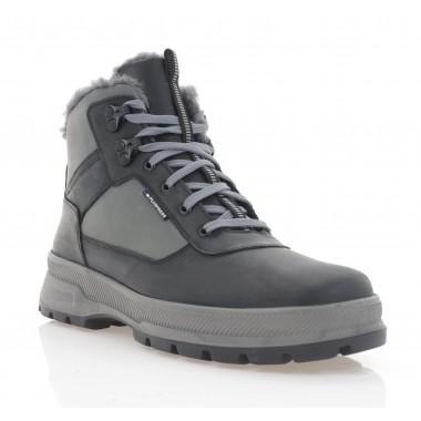 Ботинки мужские черные/серые, кожа (5074 чн+сір Крейз (шерсть)) Roma style