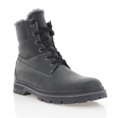 Ботинки мужские черные, кожа (5075 чн. Крейз (шерсть)) Roma style