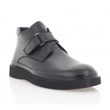 Ботинки мужские черные, кожа (5079 чн. Шк (шерсть)) Roma style