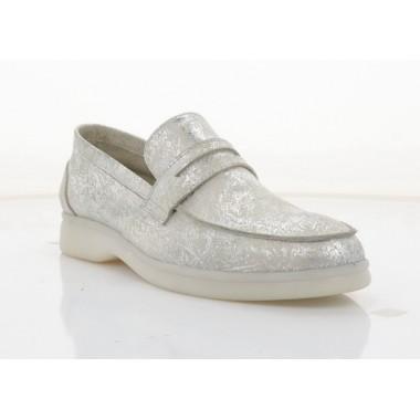 Мокасины женские серебряные, кожа (5081Ж срібна. Шк) Roma style