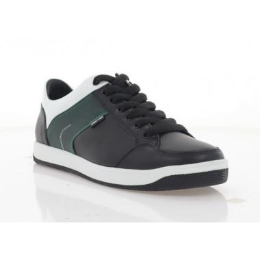 Кеды подростковые черные/зеленые/белые, кожа (5082 П чн. Шк_зел) Roma style